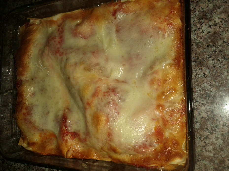 Lasagna out of the oven and ready